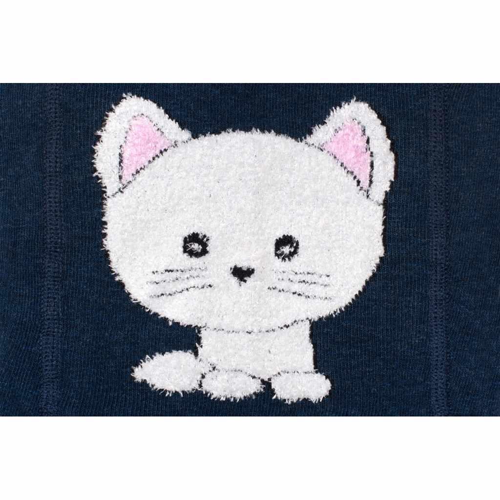 Bavlnené pančucháče 3D New Baby tmavo modré s mačičkou