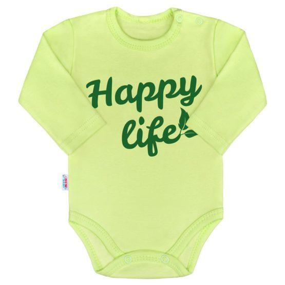 Body s potlačou New Baby Happy life zelené