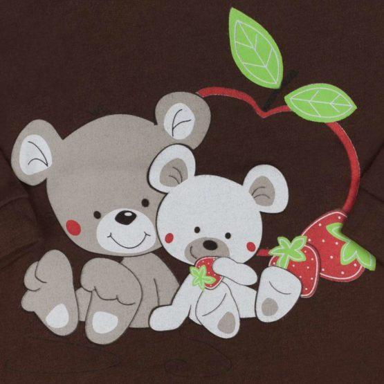 Detské body s krátkym rukávom New Baby Myšky s Jahôdkou hnedé