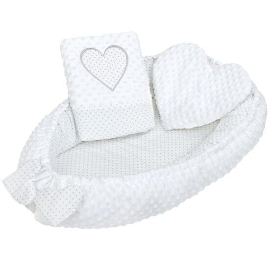 Luxusné hniezdočko s vankúšikom a perinkou New Baby Srdiečko biele