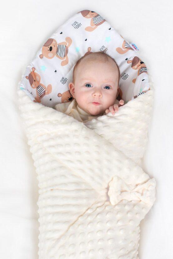 Obojstranná Zavinovačka z Minky New Baby 75x75 cm ježko mätová
