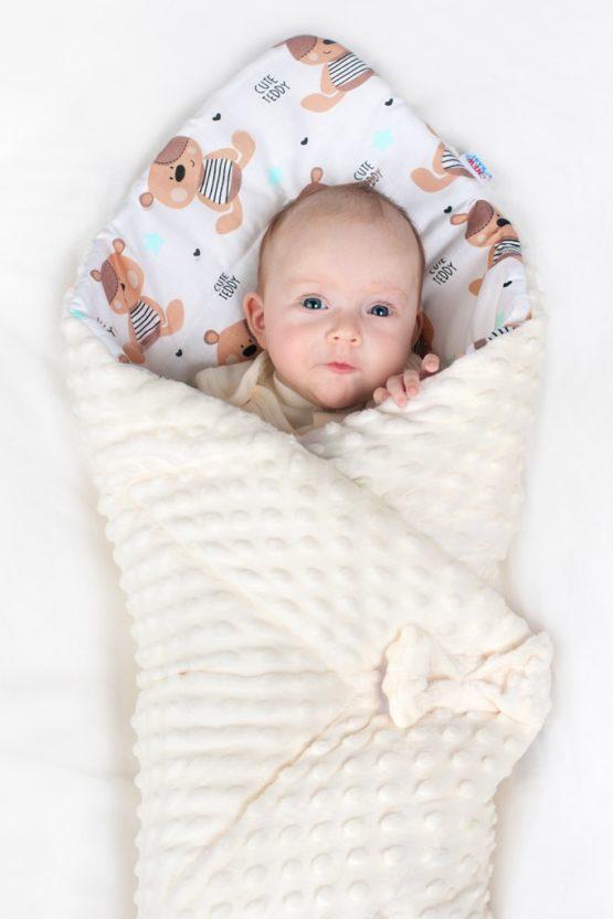 Obojstranná Zavinovačka z Minky New Baby 75x75 cm obláčik ružová