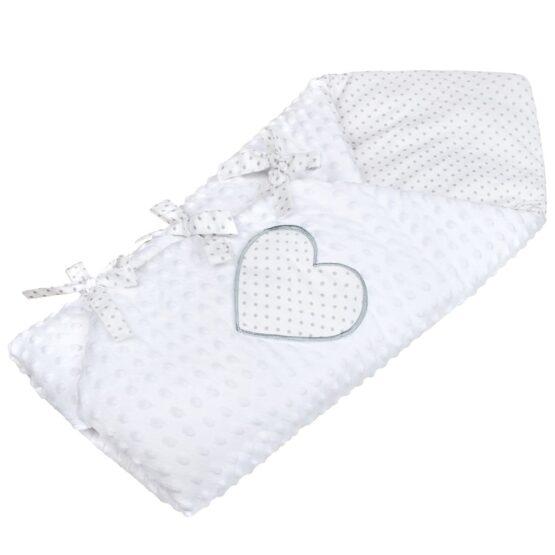 Luxusná šnurovacia Zavinovačka z Minky New Baby biela 75x75 cm