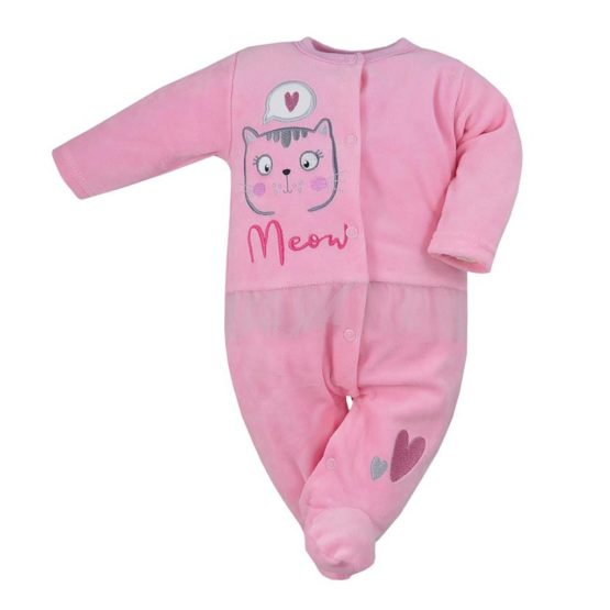 Dojčenský semiškový overal Koala Miau ružový