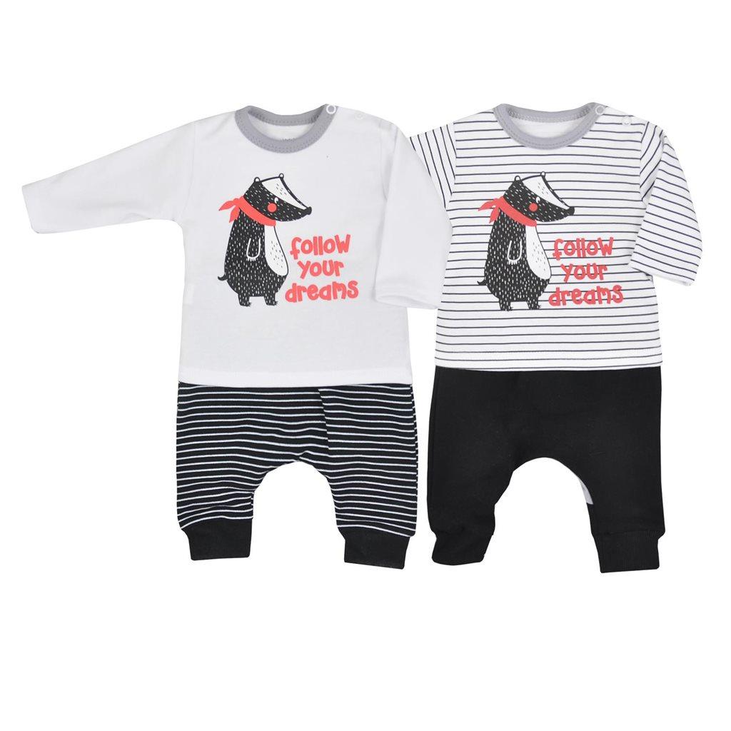 Dojčenské tepláčky a tričko Koala Jazvec pruhy