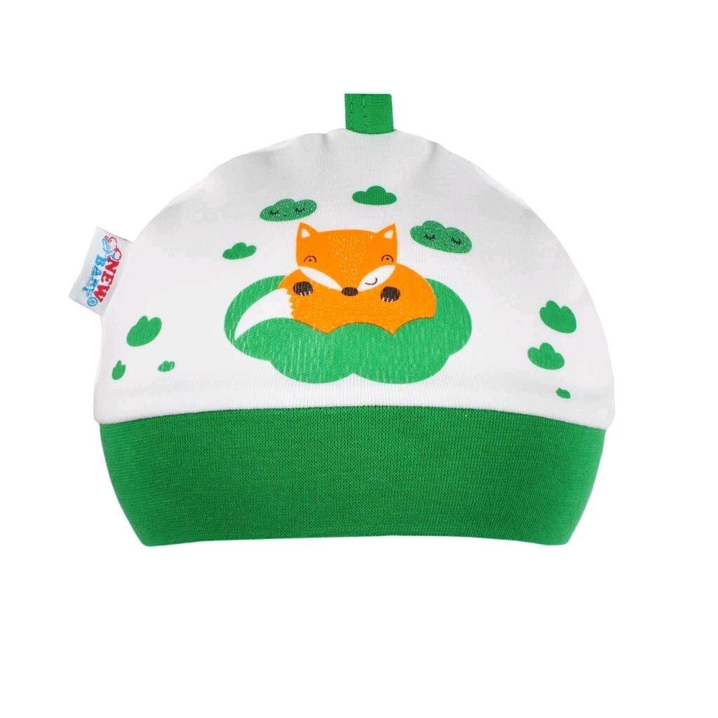 Dojčenská bavlnená čiapočka New Baby Líška zelená