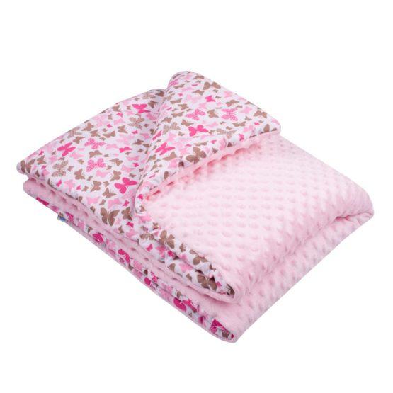 Detská deka z Minky s výplňou New Baby ružová 80×102 cm