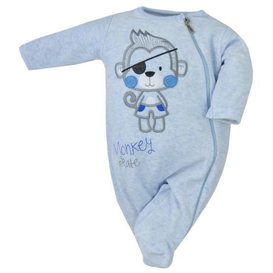 Dojčenský semiškový overal Koala Monkey modrý