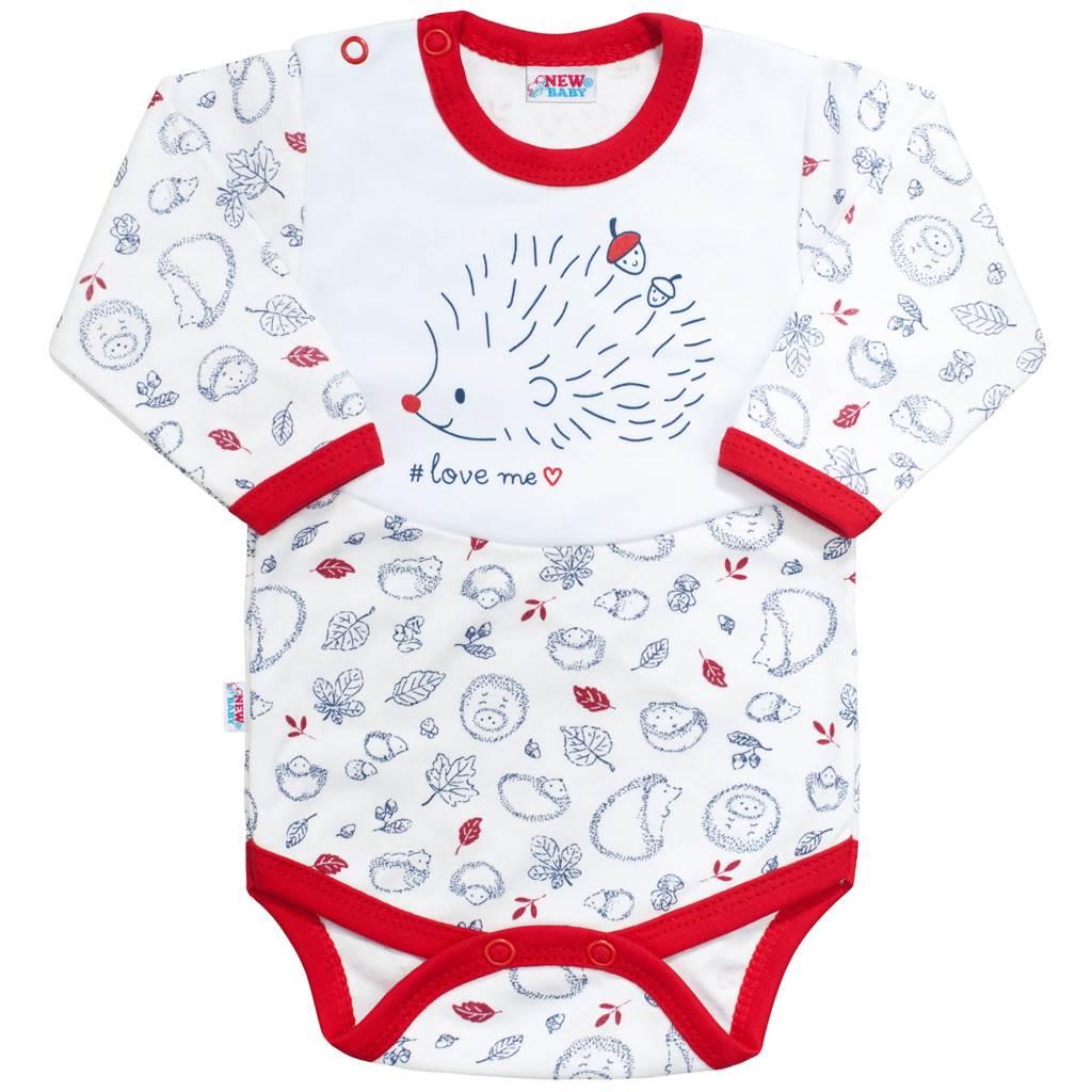 Dojčenské body s dlhým rukávom New Baby Hedgehog červené