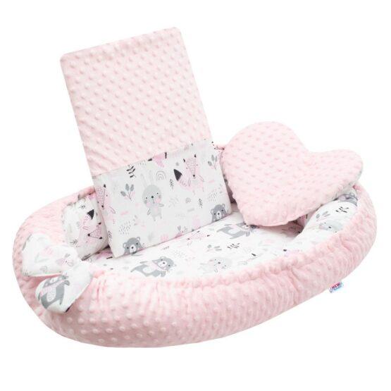 Luxusné hniezdočko s vankúšikom a perinkou New Baby z Minky rúžové